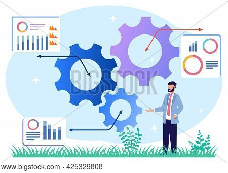 Productivity Vector Illustration. The Performance Of A Successful Businessperson. Efficient Time And