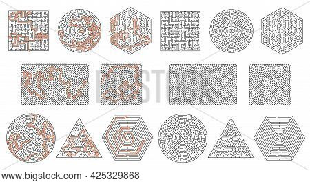 Labyrinth Maze Game, Square, Triangle, Hexagon, Round Maze Game. Vector Logic Game Templates With Ta