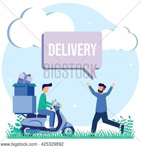 Modern Vector Illustration Of A Delivery Service. Package Delivery Online. National And Global Logis