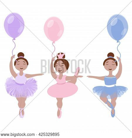 Vector Image Of Three Little Ballerina Girls In Colorful Tutus And Pointe Shoes With Balloons