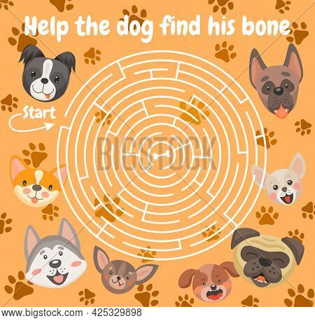 Help The Dog Find The Bone, Labyrinth Maze Game. Kids Board Riddle, Vector Boardgame With Round Path