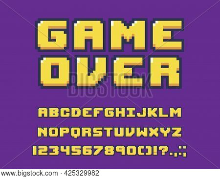 8-bit Game Font Or Type With Letters, Numbers, Digits And Symbols. Vector Alphabet, Punctuation Mark