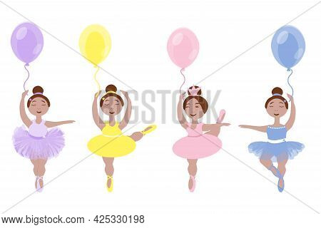 Vector Image Of Four Little Ballerina Girls In Colorful Tutus And Pointe Shoes With Balloons