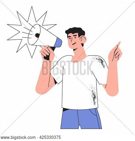 Male Character Shouting In Loudspeaker. Man Holding Megaphone And Say Or Shout Speech Isolated On Wh