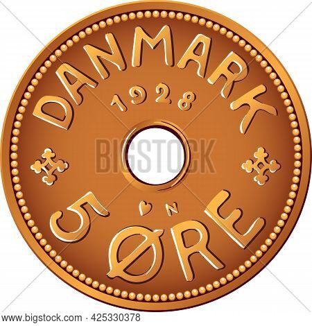 Obverse Of Danish Money Tin-bronze 5 Ore Coin. Krone, Official Currency Of Denmark, Greenland, And T