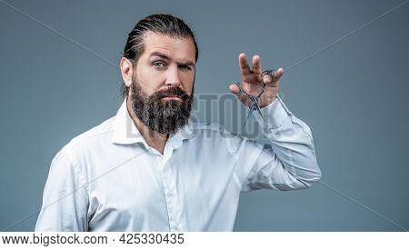 Barber Scissors. Vintage Barbershop, Shaving. Male In Barbershop, Haircut, Shaving. Bearded Man Isol