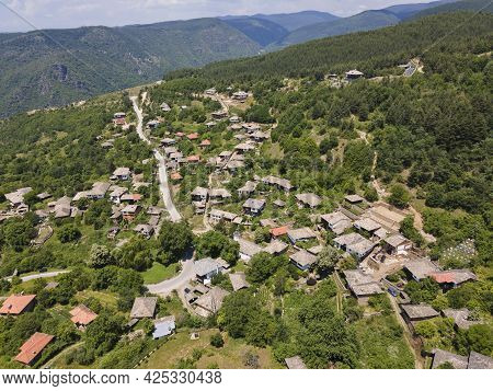 Aerial View Of Village Of Leshten With Authentic Nineteenth Century Houses, Blagoevgrad Region, Bulg