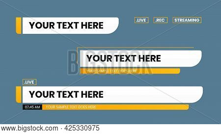 Lower Third Vector Design With Yellow Shape Overlay Strip Text Video. News Lower Thirds Pack.