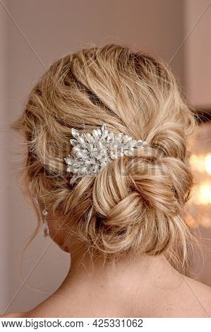 A Classic Wedding Bun. The Brides Hair, Hairdressing. Blonde With Curly Hair.