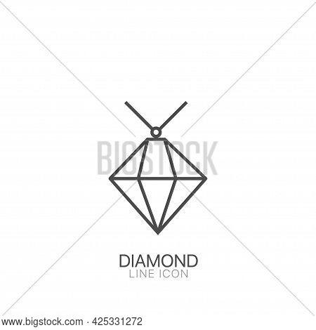 Diamond Outline Vector Icon. Editable Stroke Brilliant, Diamond Line Icon. Linear Style Sign For Mob