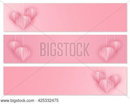 Paper Art And Craft Style Banner Set With Hearts. Cut Out Paper 3d Hearts Hanging On Chains On A Pin