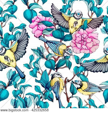 Tit Bird On Branch With Blue Leaves And Pink Peony Seamless Pattern. Repeat Ornament Blossom Rose An