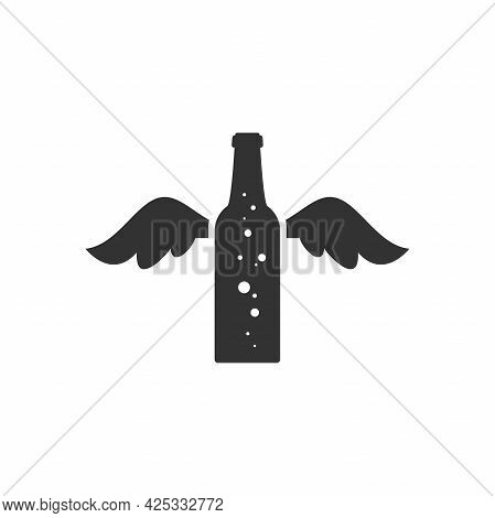 Beer Or Ale Bottle With Wings. Best Product. Bar, Pub, Brew Symbol. Alcohol, Drinks Shop, Party, Men
