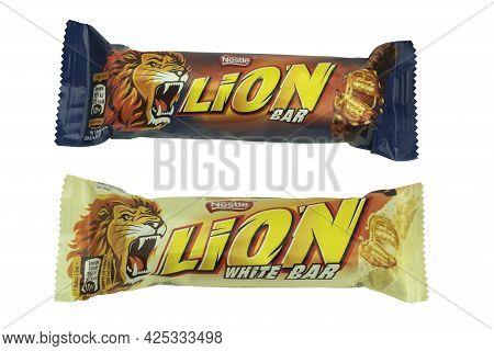 Poland, Warsaw - June 24, 2021: Lion Chocolate Bar On A White Background. White Background With Copy