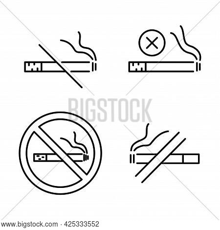 No Smoking. Stop Smoke, Sign. Set Of Information Icons. Prohibited Symbol. Hotel Service Symbol. Lin