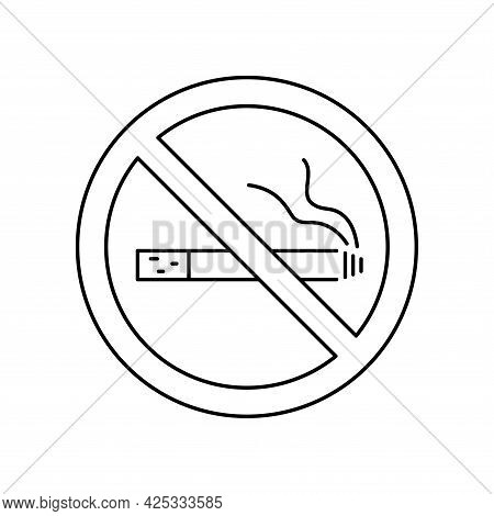 No Smoking, Line Icon. Stop Smoke, Sign. Forbidden Symbol. Hotel Service Symbol. Linear Style No Smo