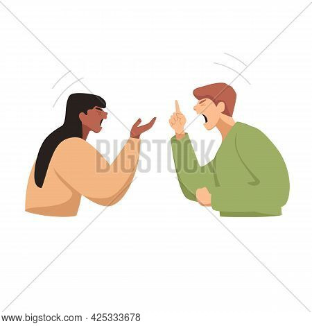 People Are Angry. Two People Are Arguing. People Are Shouting At Each Other. Vector Illustration