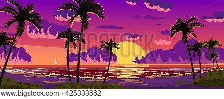 Sunset Ocean Tropical Resort Landscape Panorama. Sea Shore Beach, Sun, Exoti Csilhouettes Palms, Coa