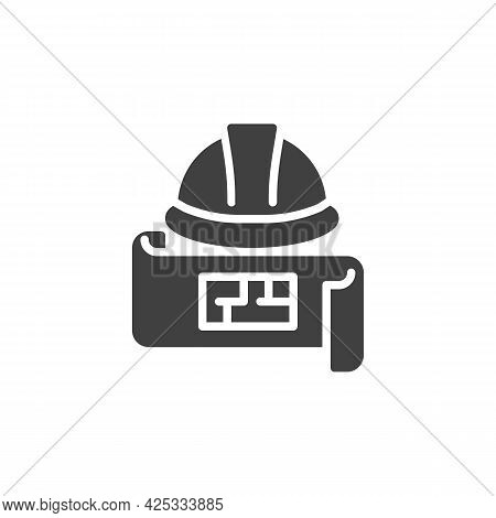 Engineering Project Vector Icon. Filled Flat Sign For Mobile Concept And Web Design. Hard Hat And Bl