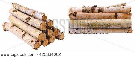 Stack Of Dry Birch Branches Isolated On White.