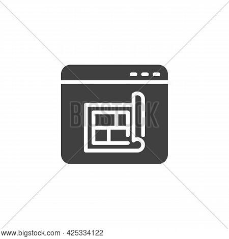 Online Home Planning Vector Icon. Filled Flat Sign For Mobile Concept And Web Design. Website With H