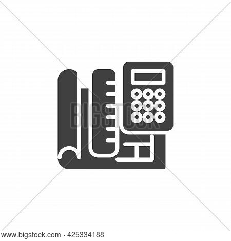 Engineering Project Plan Vector Icon. Filled Flat Sign For Mobile Concept And Web Design. Paper Blue