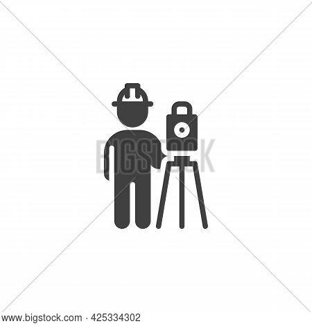 Surveyor Engineer Vector Icon. Filled Flat Sign For Mobile Concept And Web Design. Building Surveyor