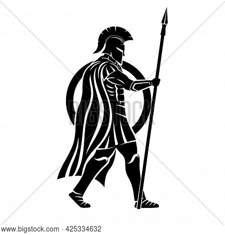 Spartan With Spear And Shield On White Background.
