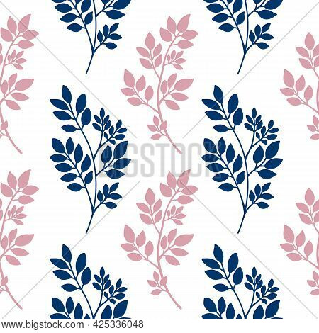 Navy Blue Pink Abstract Tree Branches Seamless Pattern. Plants Silhouette, Twig With Leaves. Floral