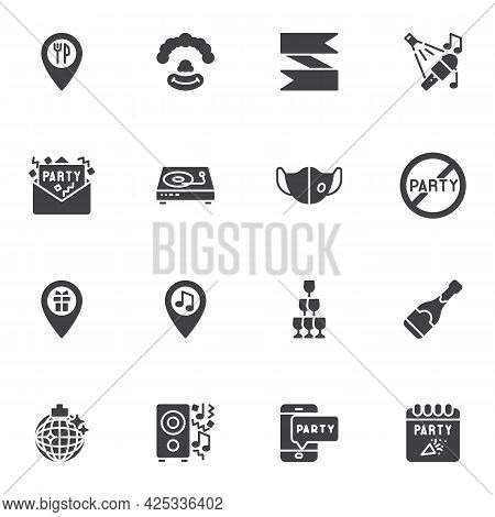 Entertainment Party Vector Icons Set, Modern Solid Symbol Collection, Filled Style Pictogram Pack. S
