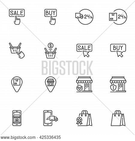 Online Shopping Line Icons Set, Ecommerce Outline Vector Symbol Collection, Linear Style Pictogram P