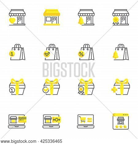 Online Shopping, E-commerce Line Icons Set, Outline Vector Symbol Collection, Linear Style Pictogram