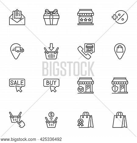 E-commerce Line Icons Set, Online Shopping Outline Vector Symbol Collection, Linear Style Pictogram