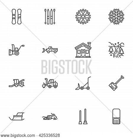 Winter Season Line Icons Set, Outline Vector Symbol Collection, Linear Style Pictogram Pack. Signs,