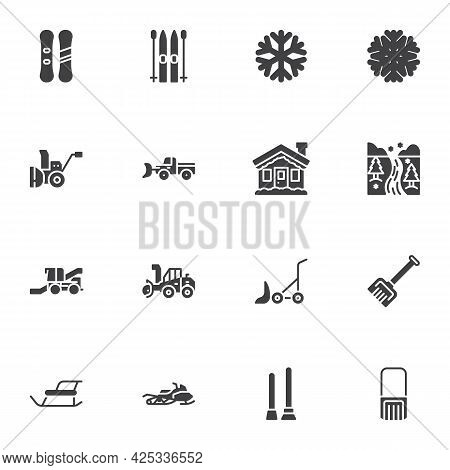 Winter Season Vector Icons Set, Modern Solid Symbol Collection, Filled Style Pictogram Pack. Signs,
