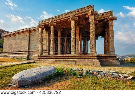 Ancient Vijayanagara Empire temple ruins in Hampi. Karnataka, India. UNESCO world heritage site
