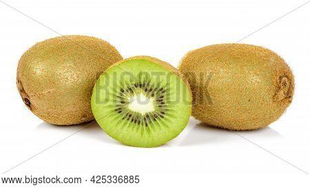 Fresh Kiwi Fruits Isolated On White Background