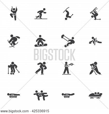 Winter Sport Vector Icons Set, Modern Solid Symbol Collection, Filled Style Pictogram Pack. Signs, L
