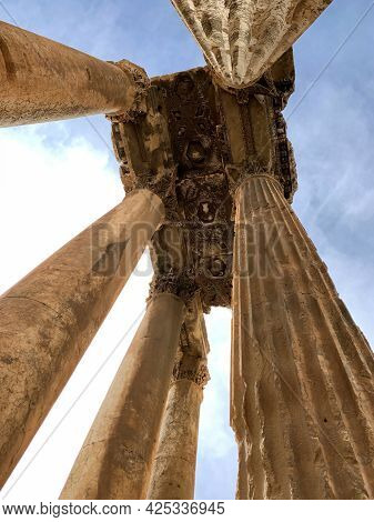 Ruins Of Jupiter Temple View From Down, Baalbeck, Lebanon.