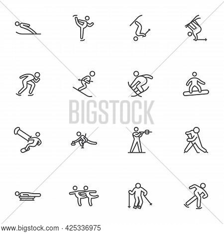 Winter Sport Activities Line Icons Set, Outline Vector Symbol Collection, Linear Style Pictogram Pac