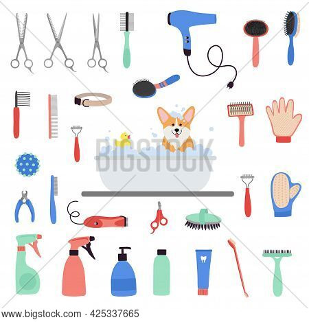 Pet Grooming Tools Set. Dog And Cat Care, Grooming, Hygiene, Health. Corgi Dog Bath. Beauty Salon Fo