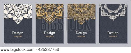 Set Of Four Color Cards Or Flyers With Ethnic Mandala Ornament. Abstract Mandala Design. Decorative