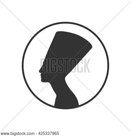 Queen Nefertiti Of Ancient Egypt Graphic Icon. Nefertiti Silhouette In The Circle Isolated On White