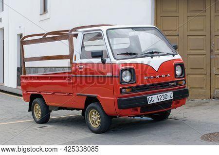 Firgas Town, Gran Canaria Island, Spain - 2. 6. 2021: Honda Tn Acty Mini Truck Parking On The Street