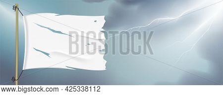 Surrender Flag Waving On Lightning Sky Background.