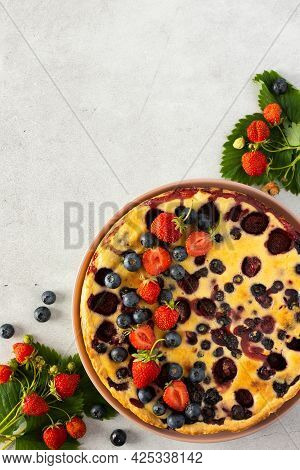Strawberry Blueberry Pie Decorated With Fresh Berries