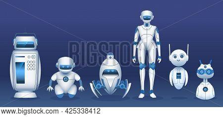 Robot Characters. Cartoon Futuristic Robots, Androids, Cyborgs And Bots. It Future Technology Mascot