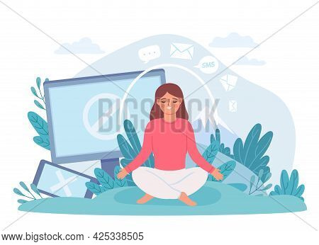 Digital Detox. Woman In Lotus Pose Meditate And Take Break From Internet, Phone And Social Networks.