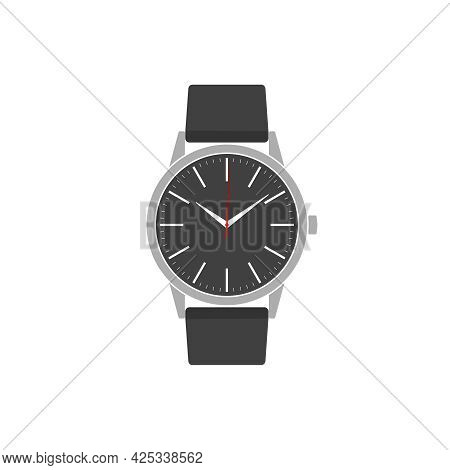 Wristwatch Graphic Icon. Watch With Band Sign Isolated On White  Background. Vector Illustration