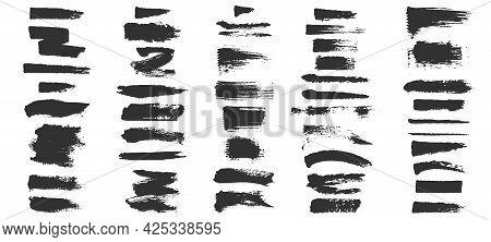 Grunge Brushes. Paintbrush Sketch Strokes, Black Splash Distress Texture And Paint Daub. Rough Ink S